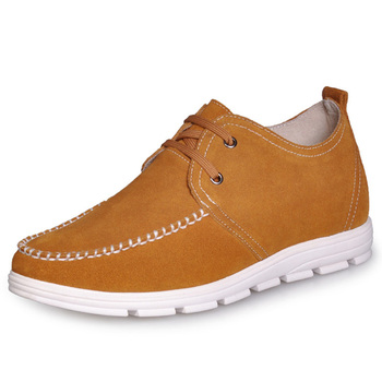 C159_3 Yellow  Genuine Leather  Comfortable Men's Elevator Shoes