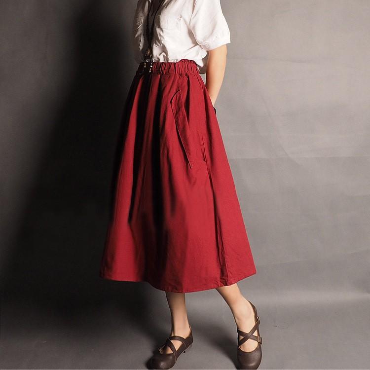Женщины's Сплошной Цветs Хлопок linen skirts Ruffle High Талия A-line pleated ...