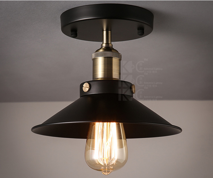 Free Shipping 110-240V Flush Mount Black Color Country Vintage Ceiling Lights D23CM CE And FCC Quality<br><br>Aliexpress