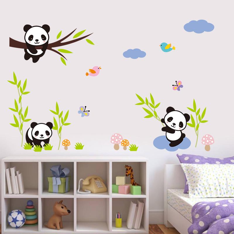 % Cartoon Forest Panda bamboo Birds tree Wall Stickers For Kids room baby Nursery Room decor animals Wall decals mural art(China (Mainland))
