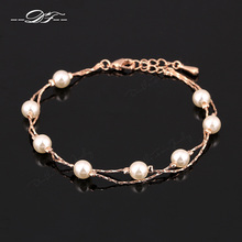 Double Fair Charm Bracelets & Bangles Platinum/Rose Gold Plated Fashion Simulated Pearl Beads Wedding Jewelry For Women DFH169(China (Mainland))