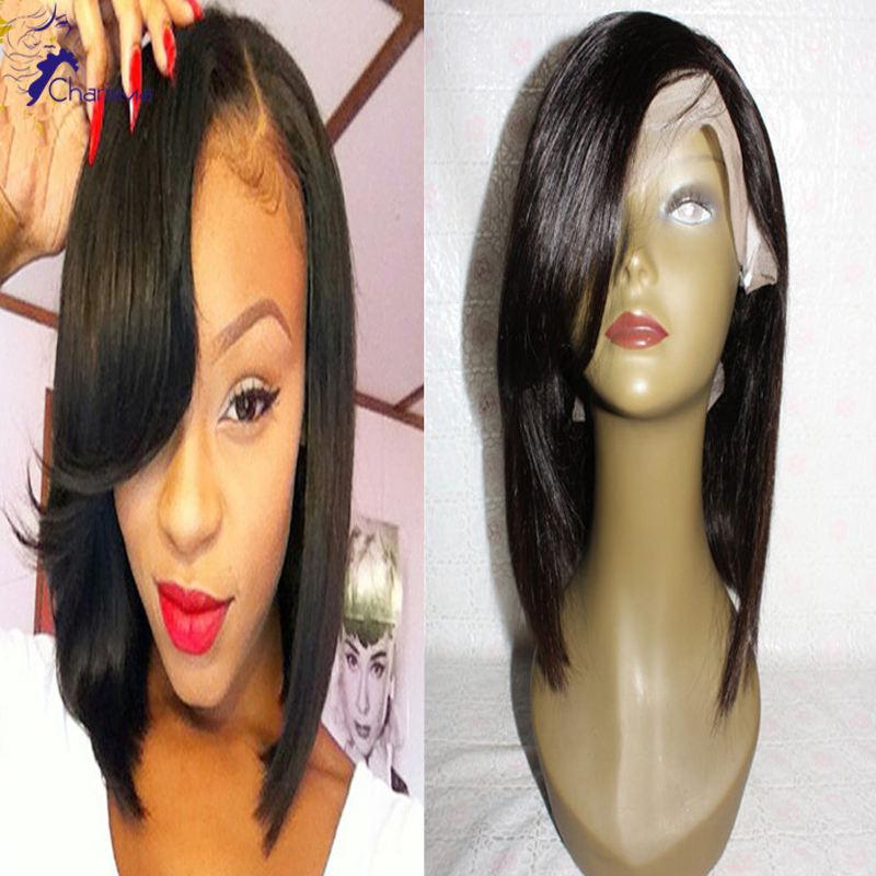 Full Lace Human Hair Bob Wigs Brazilian Short Bob Hair Lace Front Wig 130%Density Middle Part Side Part Wig For Black Women<br><br>Aliexpress