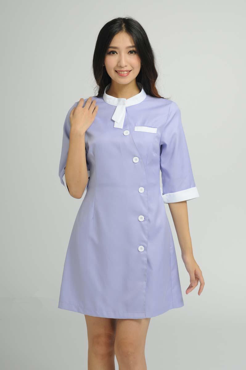 White pinafore apron nurse - Custom Design Beauty Salon Half Sleeve Nurse Uniforms Hospital Pharmacy Workwear Dress Overalls Medical Slim Fit