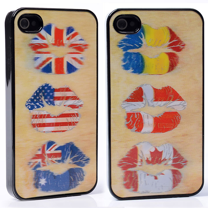 DYNAMIC Movie Video Film Effect various change sexy colorful country flag mouth PC Hard Back Shell Cover Case For iphone 4 4S 4G(China (Mainland))
