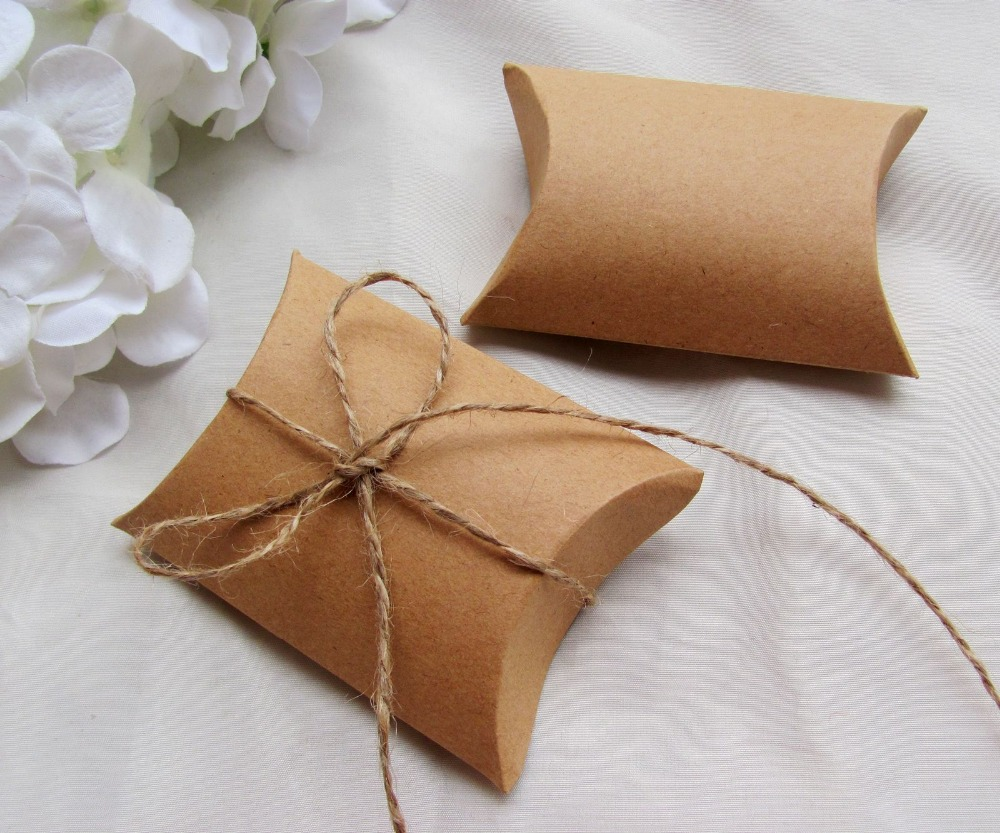 Gold Pillow Favor Boxes : Free shipping pcs lot kraft paper pillow box with jute