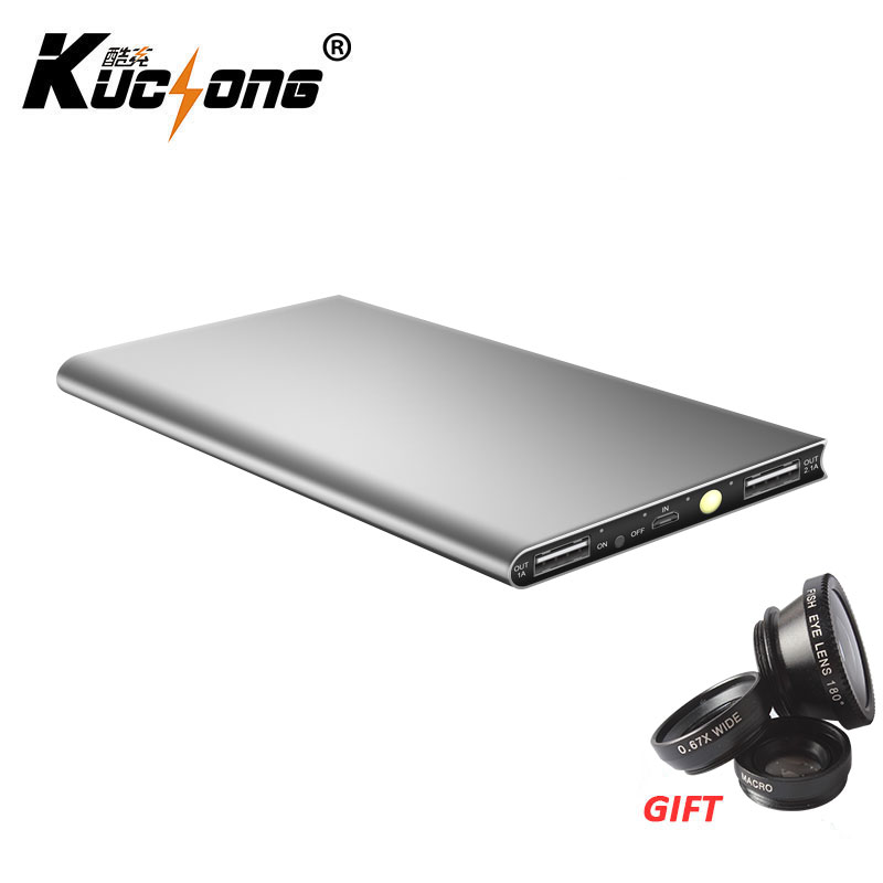 KUCHONG Dual USB Power Bank 12000mAh Ultra thin Portable Charger External Battery Pack Backup Battery +Fish Eye Fast Shipping(China (Mainland))