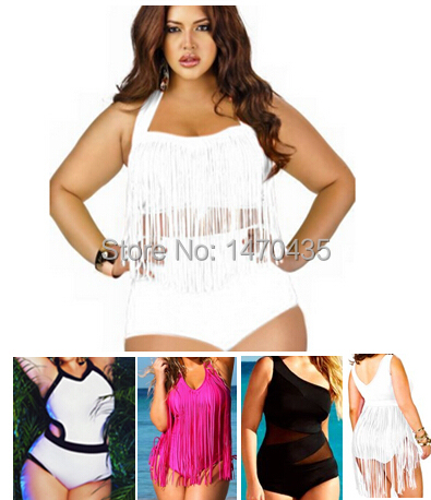 Plus Size L-5XL 2015 New High Waist Fringe Tassel Bikinis Set, Sexy Push Up swimwear women Swimsuit, Pin Up Retro Biquini(China (Mainland))