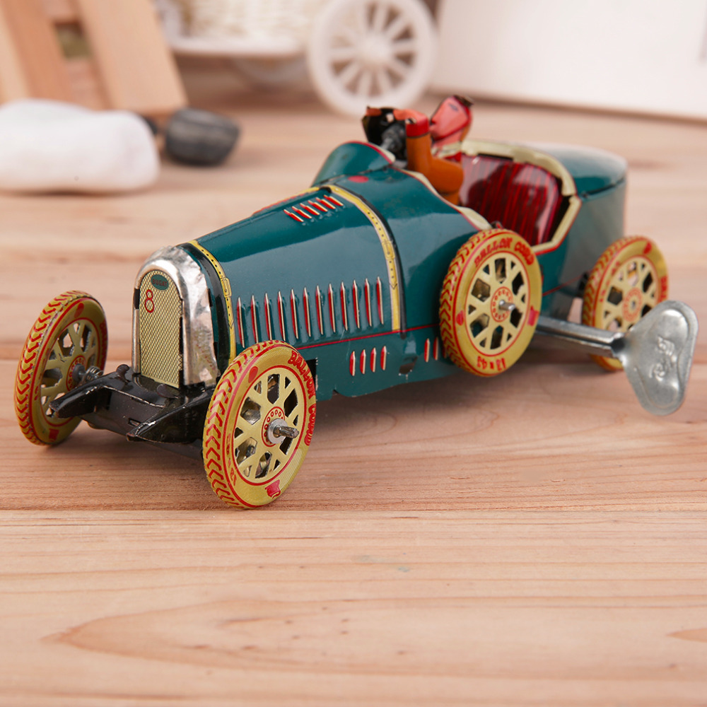 Vintage Metal Tin Sports Car with Driver Clockwork Wind Up Toy Collectible Hot Selling(China (Mainland))
