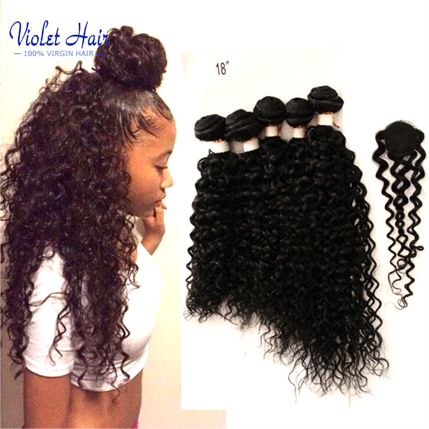 Malaysian curly hair lace closure with bundles 5pcs,vip beauty hair Malaysian kinky curly virgin hair bundles with closures 200G