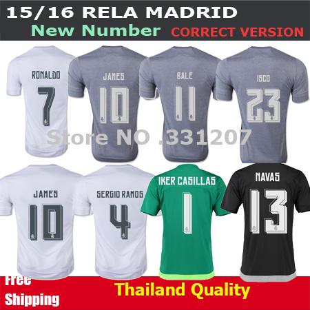 2016 Real Madrid soccer jersey World Champions JAMES KROOS RONALDO BALE 15 16 Real Madird Jerseys Grey Green camiseta Shirt 2016(China (Mainland))
