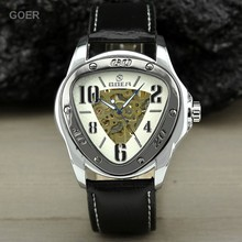 Silver Steel Case Super popular Outdoor Sport Skeleton style triangle Dial Casual Leather Band Automatic mechanical Men watch(China (Mainland))