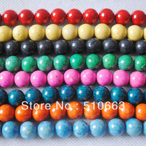 (190 Pieces / Lot ),Nature Fossile Stone,Fossile Beads,Semi Precious Gem Stone,Size: 10mm,Mix Colors,Free Shipping !<br><br>Aliexpress
