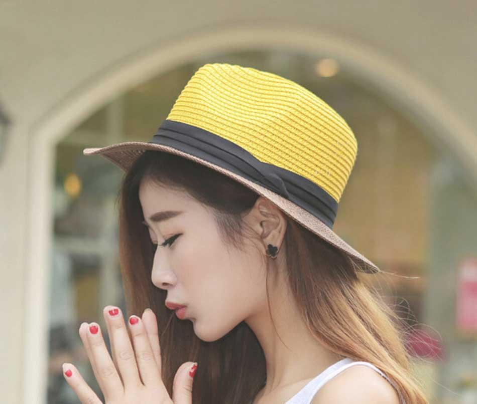 Wholesale 8pcs/Lot Fashion Beach Straw Fedoras Hats for Women Ladies Paper Straw Hat Black Ribbon Womens Summer Sun Fedora Caps(China (Mainland))