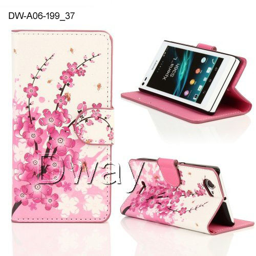 New Stylish Butterfly Flower PU Leather Wallet Book Flip Cover For Sony Xperia L S36h Case Stand Bag 10 Colors +Free Screen Film(China (Mainland))