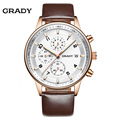 Grady casual fashion quartz watches leather sports wrist watches for man functional business style men watch