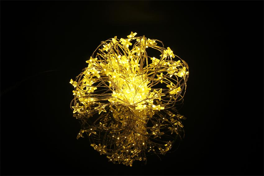 10M 100 LED Copper Wire String Lights Yellow Star DC 12V LED Starry Outdorr Christmas Light Decoration(China (Mainland))