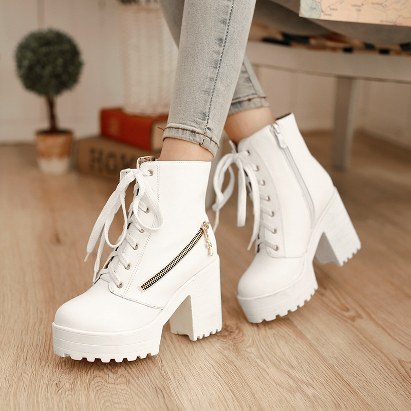 New fasion 2015 super cool ladies ankle lace-up motorcycle boots high heels platform short boots for sexy women winter shoes(China (Mainland))
