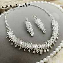 Wedding Bridal Costume Jewelry Accessories White Austrian Crystal Rhinestone Necklace Earrings Jewelry Set For Brides  (T074)(China (Mainland))