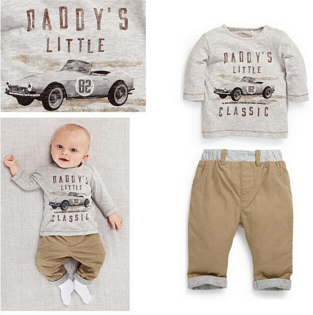 Baby 2 pcs long-sleeved suit Free shipping 2014 newest spring/autumn baby boy sets figure printing European and American cars(China (Mainland))