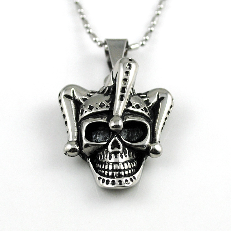 Fashion Men Stainless Steel Pendant Necklace Chain Silver Skull Clown Jewelry 2016 Hot Selling AP1810(China (Mainland))