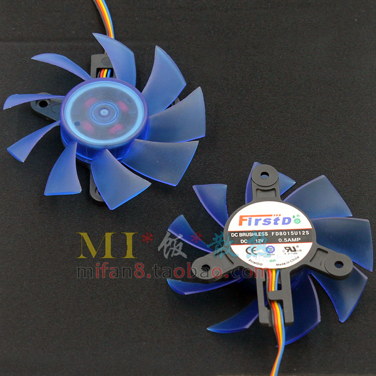 FD8015U12S 75mm DC 12V 0.5A 4Pin Computer VGA Video Card Cooler Fan Replace For HIS HD5830 HD5850 Graphics Card(China (Mainland))