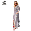 Fashion Black And White Striped Women Maxi Dress Long Sleeve Summer Maternity Dresses Chiffon Beach Pregnancy