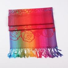 Ladies Rose flowers Scarf Scarves 2015 autumn winter long soft jacquard fringed design scarf shawl AL S172(China (Mainland))