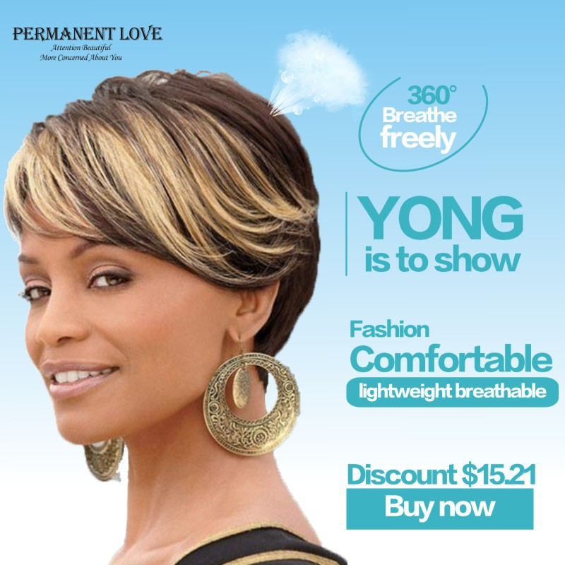 Ombre short wigs for black women black rooted bangs brown hair ...