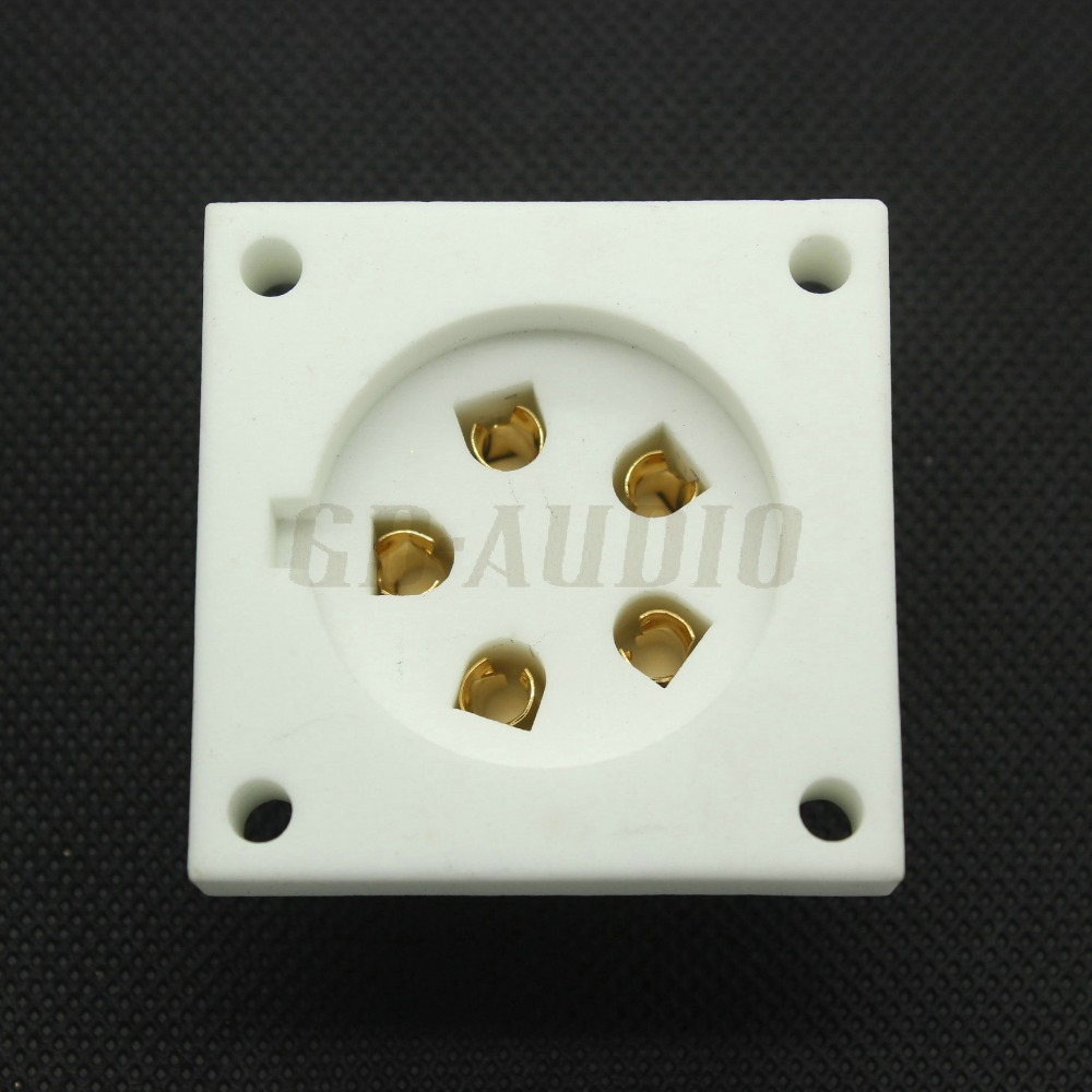 4pcs ceramic P5A 5pin chassis mount tube socket for Aa, Ba, Be, Cd,Ce,Da,P5Gi Golden Plated Feet(China (Mainland))
