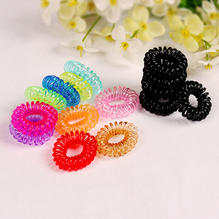 New Fashion Casual Girl Women Hair Telephone Wire Rubber Band Ties Hair Bands Plastic Hair Rollers Rope Ponytail Holder