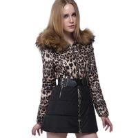 Winter Jacket Women Fur Collar Coat 2015 New Brand Leopard Print Hood Long Warm Down Jackets Casaco Feminino Plus Size Parka M2