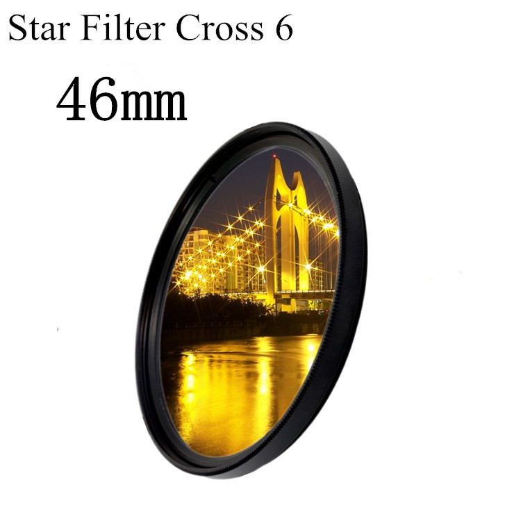 46mm Lens Star Light Filter Cross 6 6x Line 6pt Point To LC-46 DSLR Camera Len + Free Shipping Brazil + Tracking NO,(China (Mainland))