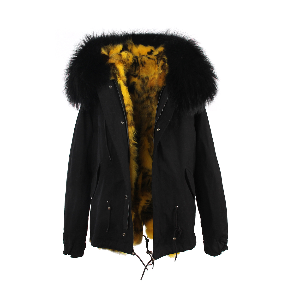 Popular Short Black Coat with Real Fur Hood-Buy Cheap Short Black ...