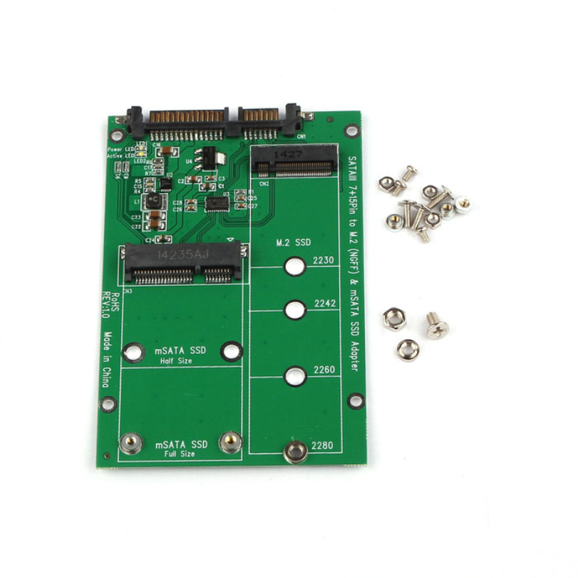 Hot-sale 98 x 65 x 5mm 2 in 1 Mini PCI-E 2 Lane M.2 And mSATA SSD To SATA III 7+15 Pin Adapter For Computer 1 pc<br><br>Aliexpress