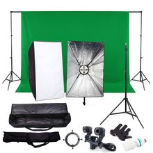 Photography Continuous Soft Box Lighting Kits( 2000W 220V 5 Socket Head 60x90cm Softbox )with Photo Studio Background Stand Set