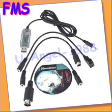5pcs/lot RC Helicopter USB Flight Simulator Interface FMS Cable 4 Futaba JR  Turborix+Free shipping(China (Mainland))