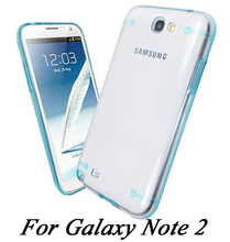 Ultra Thin Transparent Gel Clear Back Hard Case Shell For Samsung Galaxy Note 2 II N7100 phone capa cover case P0505(China (Mainland))