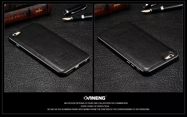 Brand Etui For iPhone 6plus Skins Aluminum Luxury Leather Metal Case Fashion ipone6 For iPhone 6 Plus Coque For iPhone 6 Fundas