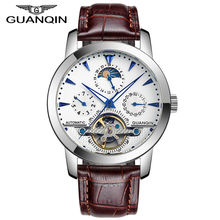 Luxury Brand GUANQIN Tourbillon Watches Men Skeleton 6 Stylish Genuine Leather Strap Fashion Automatic Watches 100 m Waterproof(China (Mainland))