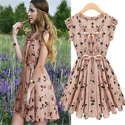 2015 new summer fashion women V-Neck deerlet Printing dress Casual Solid navy blue pink dress vestido de festa M-XXL QWE-314(China (Mainland))