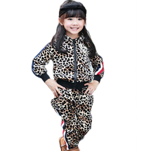 new 2014 winter boy clothing sets child leopard print hoodies+long pants girls clothing sets(China (Mainland))