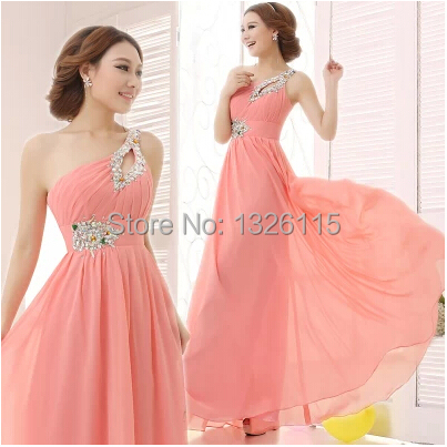 2014 Cheap 17 Color One Shoulder Beading Sequins Chiffon Long Floor-Length Bridesmaid Dress - candy's sweet shop store