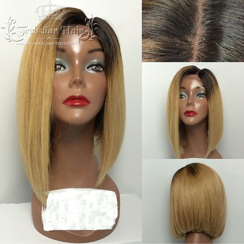 Lace Front Human Hair Wigs Ombre Brazilian Short Human Hair Ombre U Part Straight Bob Wig Lace Front Human Hair Wigs For Women(China (Mainland))