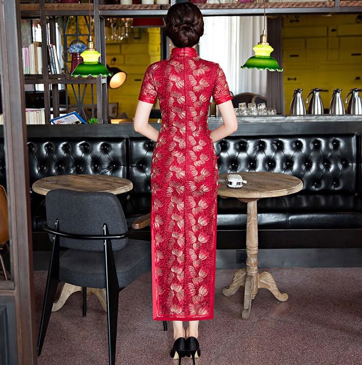 ใหม่2017ผู้หญิงลูกไม้Cheongsamแฟชั่นจีนสไตล์การแต่งกายที่สวยงามบางยาวพิมพ์QipaoขนาดSml XL XXL XXXL F090907 ถูก