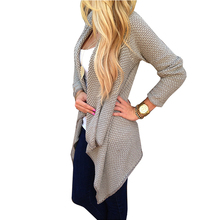 2015 new European and American big size women's loose casual women's knit cardigan sweater 4435(China (Mainland))