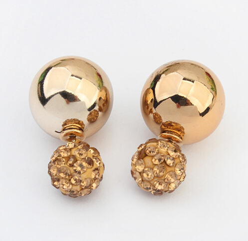 Star Jewerly Nice Gold Sliver Korean Crystal Two Ball Pearls Stud Earrings Fashion double Pearl Women Earrings Gold Plated
