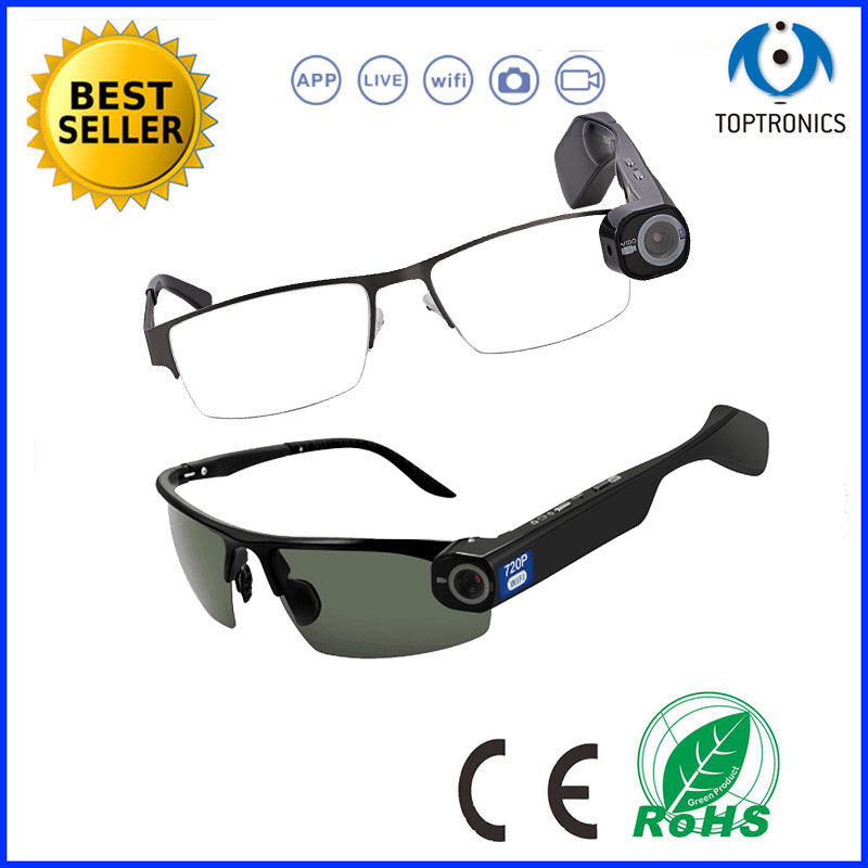 2016 New arrival CCTV Long Distance Recordable Eye Glasses Video Stream Camera Glasses live video streaming wearable glasses(China (Mainland))