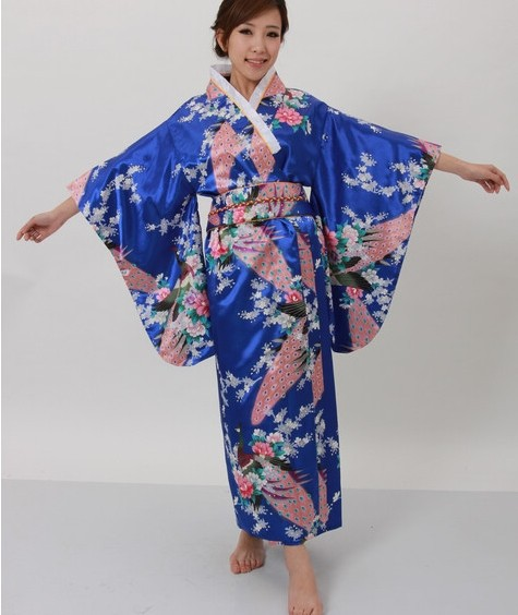 Hot selling Japanese Women's Silk Satin Kimono Evening Dress Yukata Flowers one size Royal blue H008(China (Mainland))