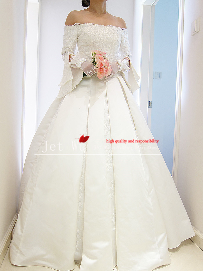 Real pictures of vintage ball gown off the shoulder lace for Vintage off the shoulder wedding dresses