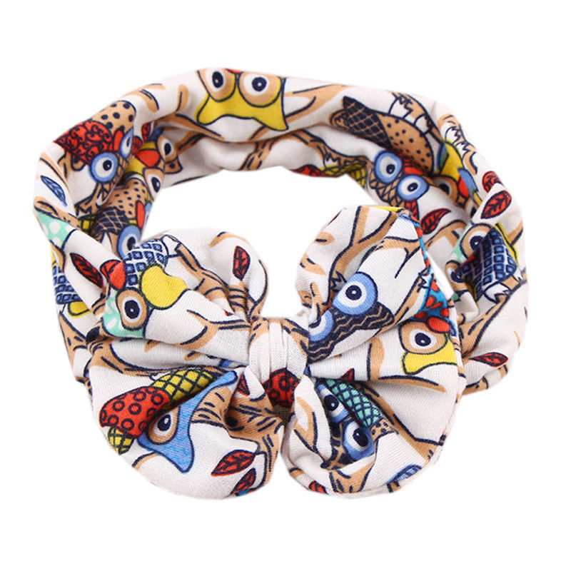 1PC Infant Baby Girl Bowknot Headband Animal Owl Print Head Wrap Floral Turban Hairband Hair Band Accessories(China (Mainland))